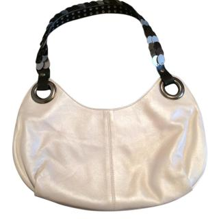 Patrizia Pepe Pearly white leather bag with metal shoulder strap