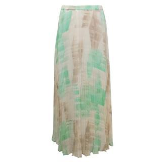Club Monaco Pleated Print Maxi Skirt
