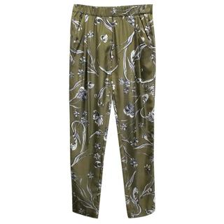 Phillip Lim Green Floral Silk Trousers