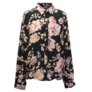 Ganni Black Floral Blouse