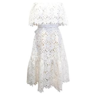 Bambah White Crochet Lace Midi Dress