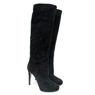 Sergio Rossi Black Suede Knee-high Boots