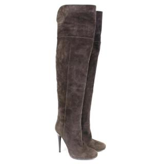 Jimmy Choo Taupe Suede Boots