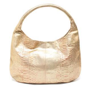 Devi Kroell Gold Snakeskin Shoulder Bag