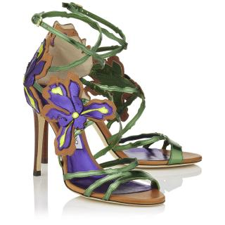 Jimmy Choo Lolita Canyon Mix Mirror Leather and Vaccetta Sandals