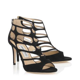 Jimmy Choo Ren 85 Black Suede Sandals