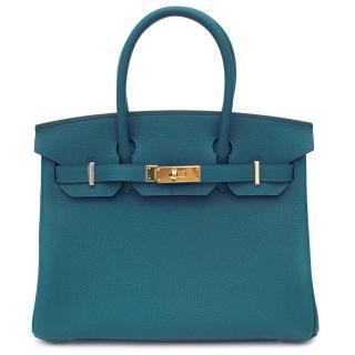 Hermes Cobalt Blue Togo Leather 30cm Birkin