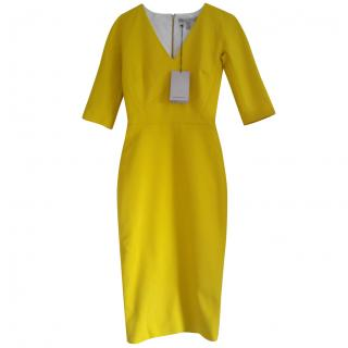 Victoria Beckham Yellow V-Neck Dress