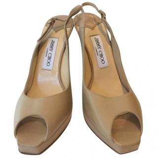 Jimmy Choo Nude Sandals. Size 38.5