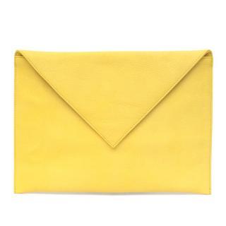 Sezane Yellow Leather Clutch Bag