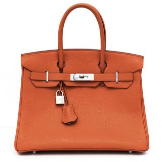 Hermes Orange Togo Leather 30cm Birkin