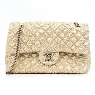 Chanel Gold Quilted Metallic Shoulder Bag