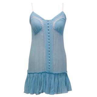 Chloe Blue Silk Chiffon Cami Slip