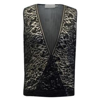 Preen By Thornton Bregazzi Black Sheer Plunge Lace Top