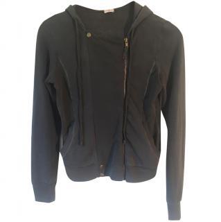 Adriano Goldschmeid grey cotton zip up hooded fleece