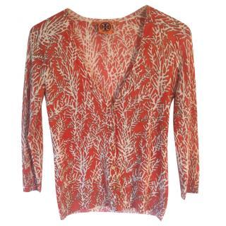 Tory Burch 100% merino wool coral print cardigan