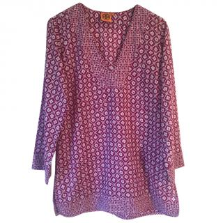 Tory Burch 'Biarritz' magenta and white floral print cotton tunic