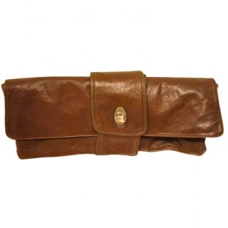 Max Azria Brown Textured Leather clutch