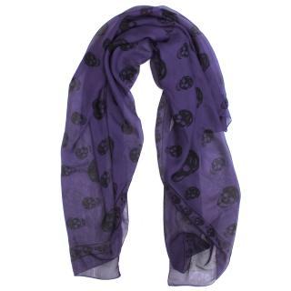 Alexander McQueen Silk Purple And Black Skull Scarf