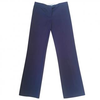 Philosophy di Alberta Ferretti navy blue cotton straight leg trousers