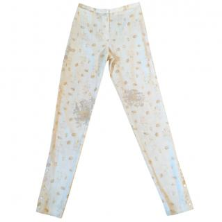 Kenzo 100% silk cream & tan floral print slim trousers