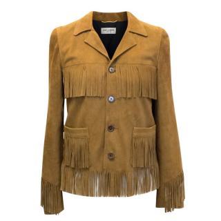 Saint Laurent Camel Curtis fringed Jacket