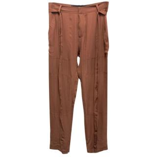 Juan Carlos Obando Brown Silk Trousers