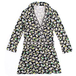 Diane Von Furstenberg Floral Print Wrap Rompersuit