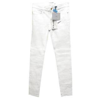 Frame White Leather Le Skinny de Jeanne