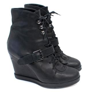 Surface to Air Black Leather Wedge Ankle Boots