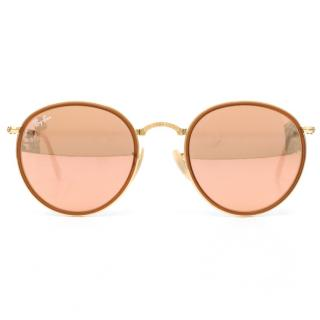 Ray-Ban Bronze-copper Round Metal Folding Sunglasses