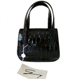 Genny Croc Embossed Black Patent Handbag