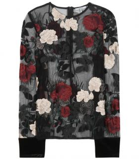 Ganni Black Floral Embroided Top