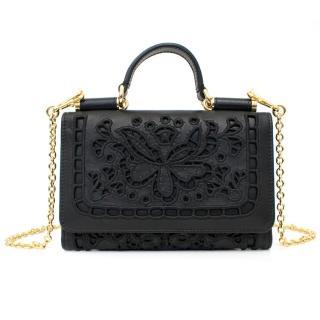 Dolce & Gabbana Black Leather Mini Crossbody Wallet On A Chain