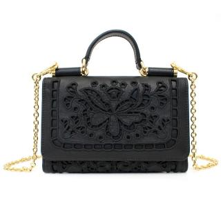 Dolce & Gabbana Black Leather Mini Crossbody Wallet On A Chain
