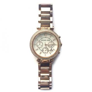 Michael Kors Ladies Parker Rose Gold-Tone Chronograph MK5491