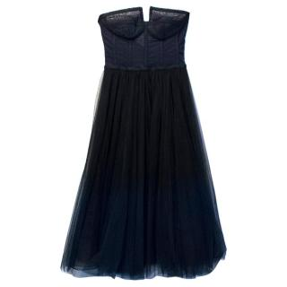 Hassh Idriss Navy Blue And Black Corset Dress