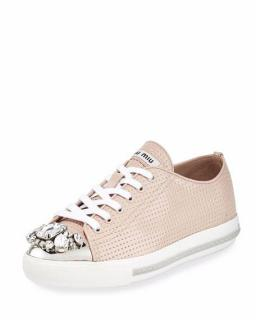 Miu Allacciate Jewel Toe Perforated Low Top Sneaker Cipria