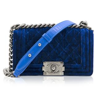 Chanel Blue Velvet Mini Boy Handbag