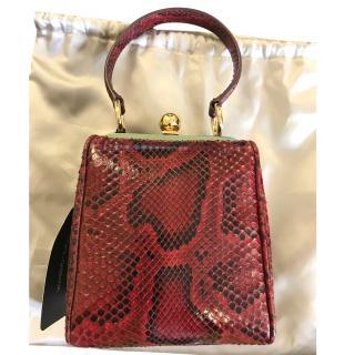 Dolce & Gabbana red snakeskin top handle bag