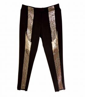 Nicole Miller Sequinned Panelled Silk Pants