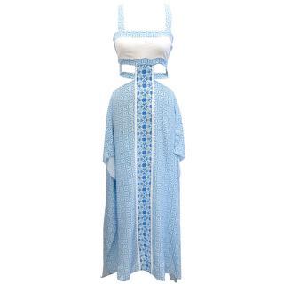 Aya Silk Blue Floral Print Maxi Dress