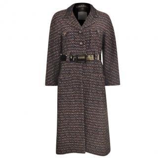 CHANEL Runway Belted Tweed Coat