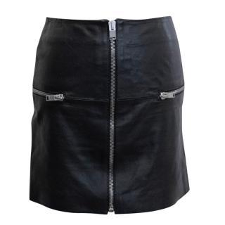 Saint Laurent Black Leather Zip Front Mini Skirt
