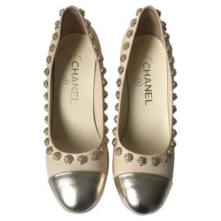 Chanel Beige Leather with Camelia Trim Pumps