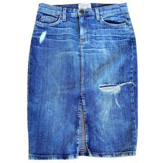 Current Elliott knee length distressed denim pencil skirt