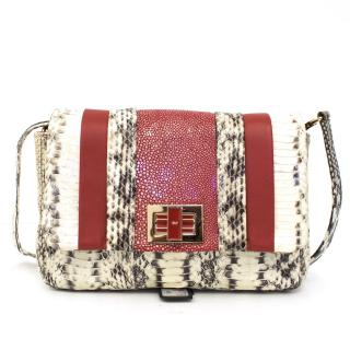 Anya Hindmarch Red And White Snakeskin Shoulder Bag