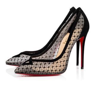 Christian Louboutin Nealto 100 Dentelle  Version Black Lame Shoes