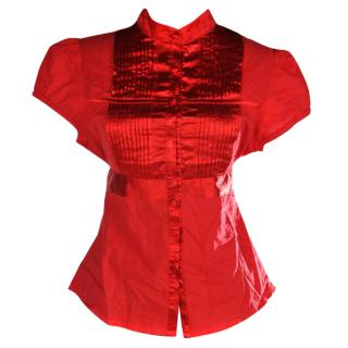Chloe red cotton and satin shirt