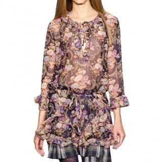 Anna Sui Floral Print Silk Mini Dress